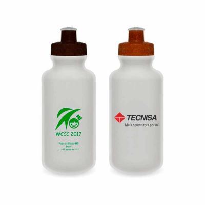 Redosul Brindes - Squeeze PE resistente e flexível, tampa feita com 50% de fibra natural de coco ou madeira e bico em PVC, materiais atóxicos. Capacidade de 500ml.