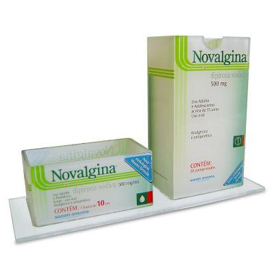 Bilateral Promocionais - Porta treco personalizado para a Novalgina, feito em acrílico, com impressão digital e dobra. Desenvolva o seu projeto com a gente.