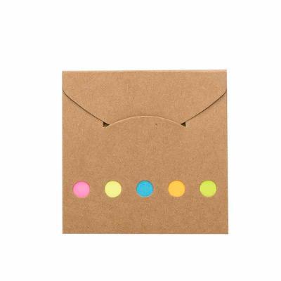 VitoriaYZ - Mini bloco ecológico(kraft) de anotações com autoadesivos. Possui lacre na própria capa e cinco detalhes circulares vazados na parte inferior. Bloco a...